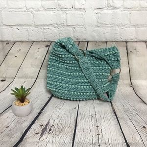 Small Teal Knit Beaded Hobo Bag